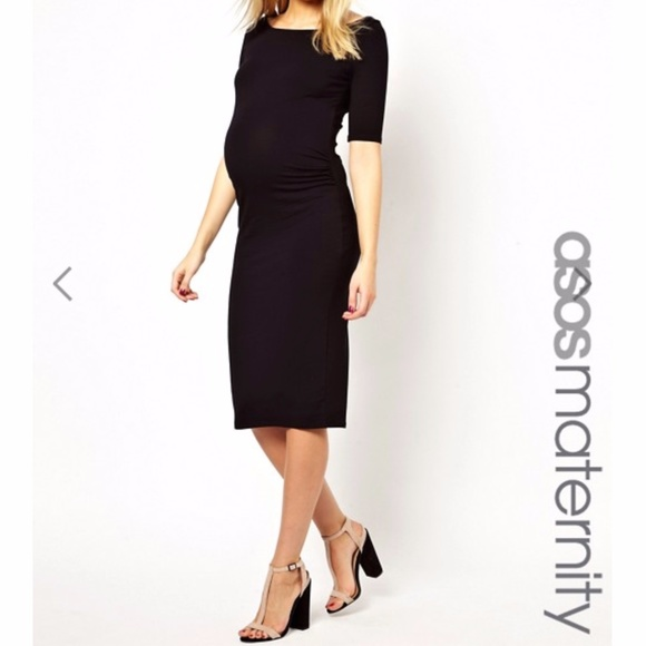 ASOS Maternity Dresses & Skirts - ASOS Maternity Bardot Dress With Half Sleeve Black